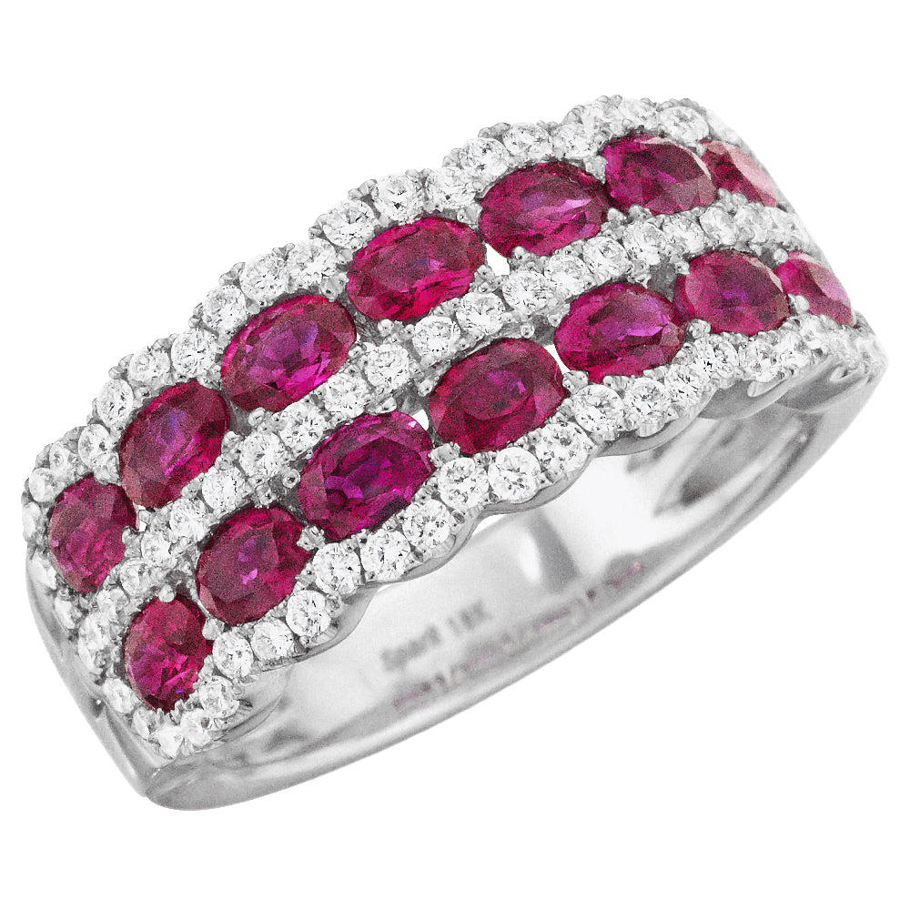 Oval Ruby & Diamond Scalloped Wedding Band Stackable Ring 18K
