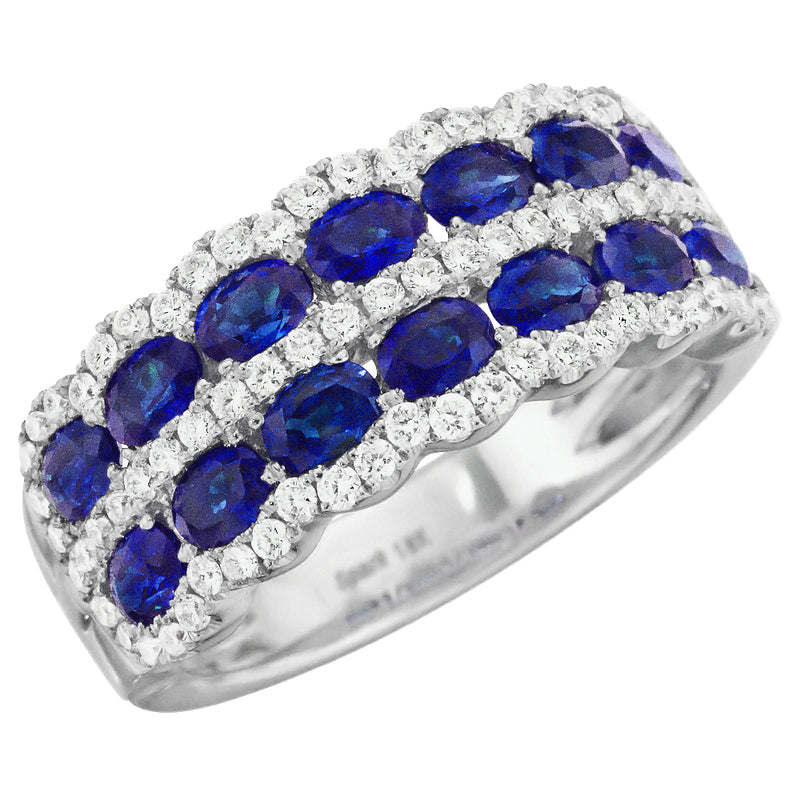 Oval Sapphire & Diamond Scalloped Wedding Band Stackable Ring 18K