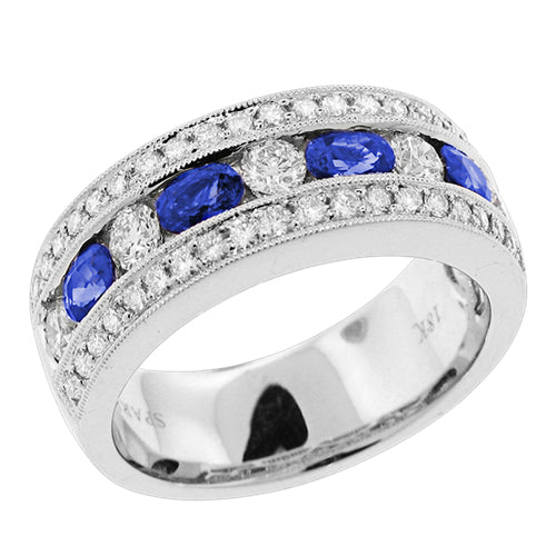 Sapphire & Pave Diamond Channel Set Wedding Band Stackable Ring 18K