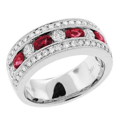 Ruby & Pave Diamond Channel Set Wedding Band Stackable Ring 18K