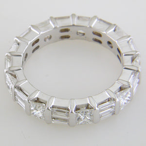 Princess Cut & Alternating Straight Diamond Baguette 18K White Gold Ring Stackable Band 3.00 carats