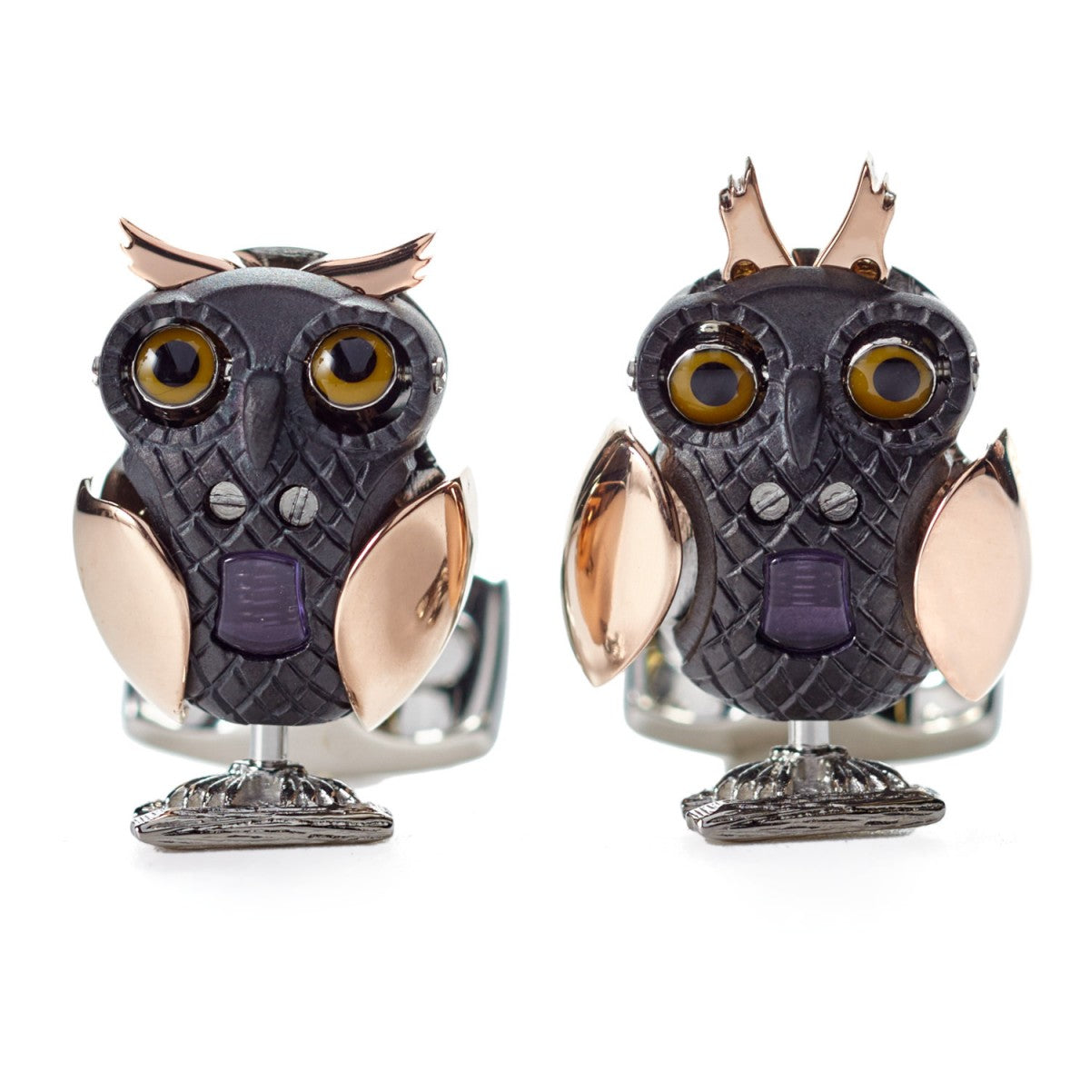 Deakin & Francis Mechanical Moving Owl Gunmetal Rose Gold Plated Silver Cufflinks