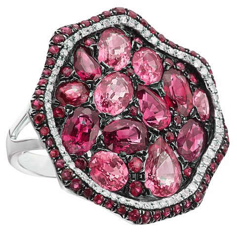 Ruby, Pink Sapphire, & Diamond Freeform Style Circular Ring 14K White Gold