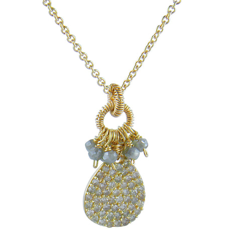 Dana Kellin Diamond Yellow Gold Spun Wire Pear Shaped Pendant Necklace