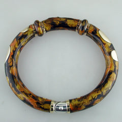 Vintage Estate SoHo Bangle Bracelet with Cappuccino Brown Enamel in 18K Yellow Gold & Silver pre-owned