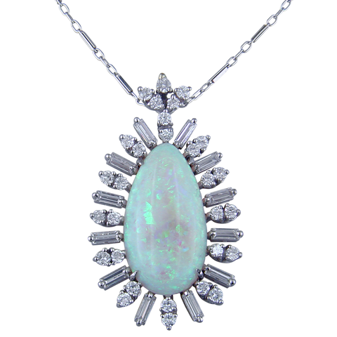 Vintage Estate Precious Pear Shape White Opal 14K White Gold Pendant Necklace