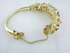 Vintage Estate La Triomphe French 1950s Sapphire Ruby Bangle Bracelet 18K Yellow