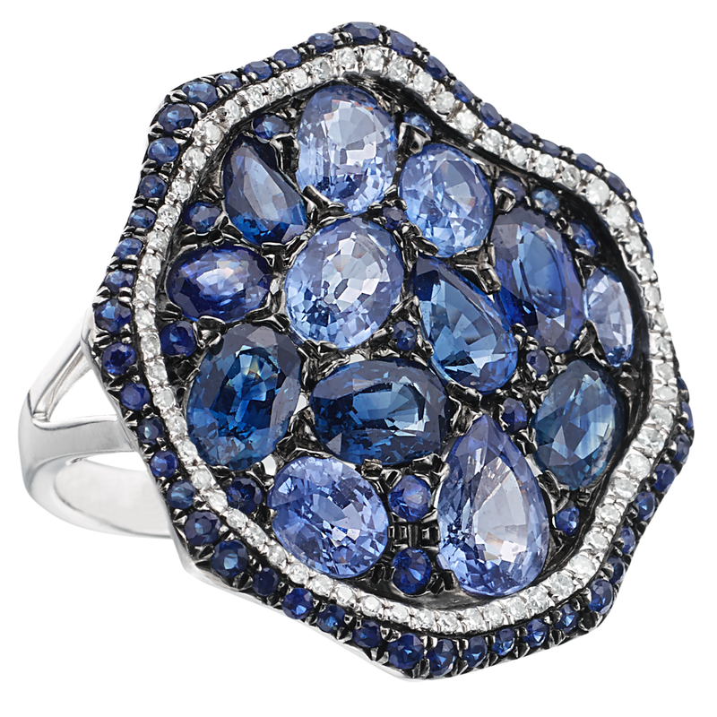 Blue Sapphire & Diamond Freeform Style Circular Ring 14K White Gold