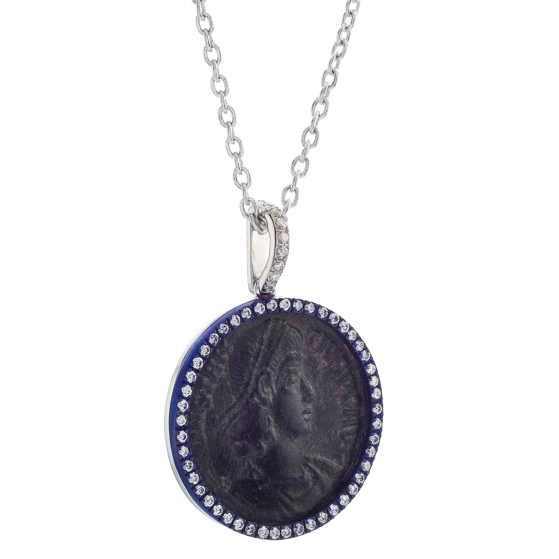 "1884 ""Maximiliano Erocole Period 286-305 A.D."" Original Bronze Coin Pendant 18K White Gold Blue Titanium with Diamonds"