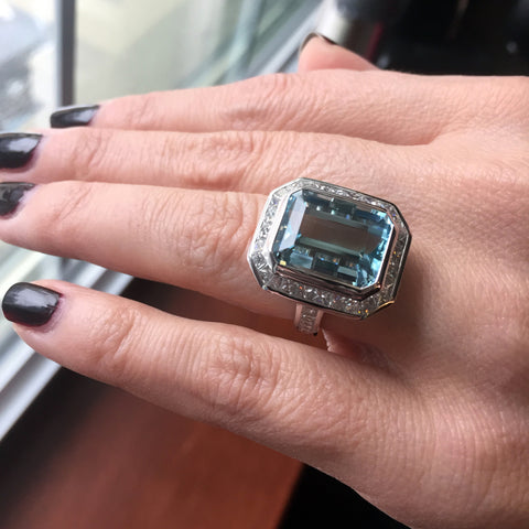 Aquamarine Cocktail Ring with Channel Set Princess Diamond Halo in White Gold