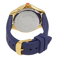 Michele Cape Yellow Topaz Markers Navy Strap Gold-Tone Watch