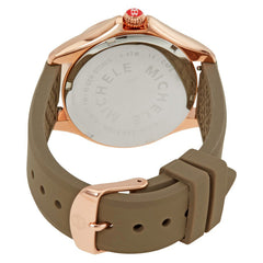 Michele Cape Smokey Quartz Dial Cocoa Strap Rose Gold Tone Watch