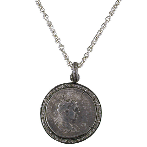 "1884 ""Elagabala Period 220-222 A.D."" Original Bronze Roman Coin Sterling Silver Pendant with Diamond Halo Necklace 18"""