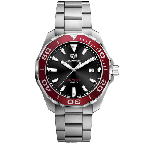ladies tag heuer watch aquaracer quartz red bezel