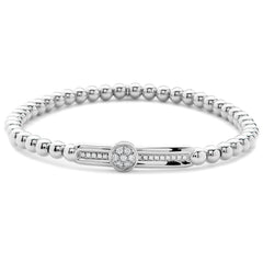 Hulchi Belluni Fidget Bracelet with a Single Pave Diamond Moveable Station White Gold Stretch Stackable