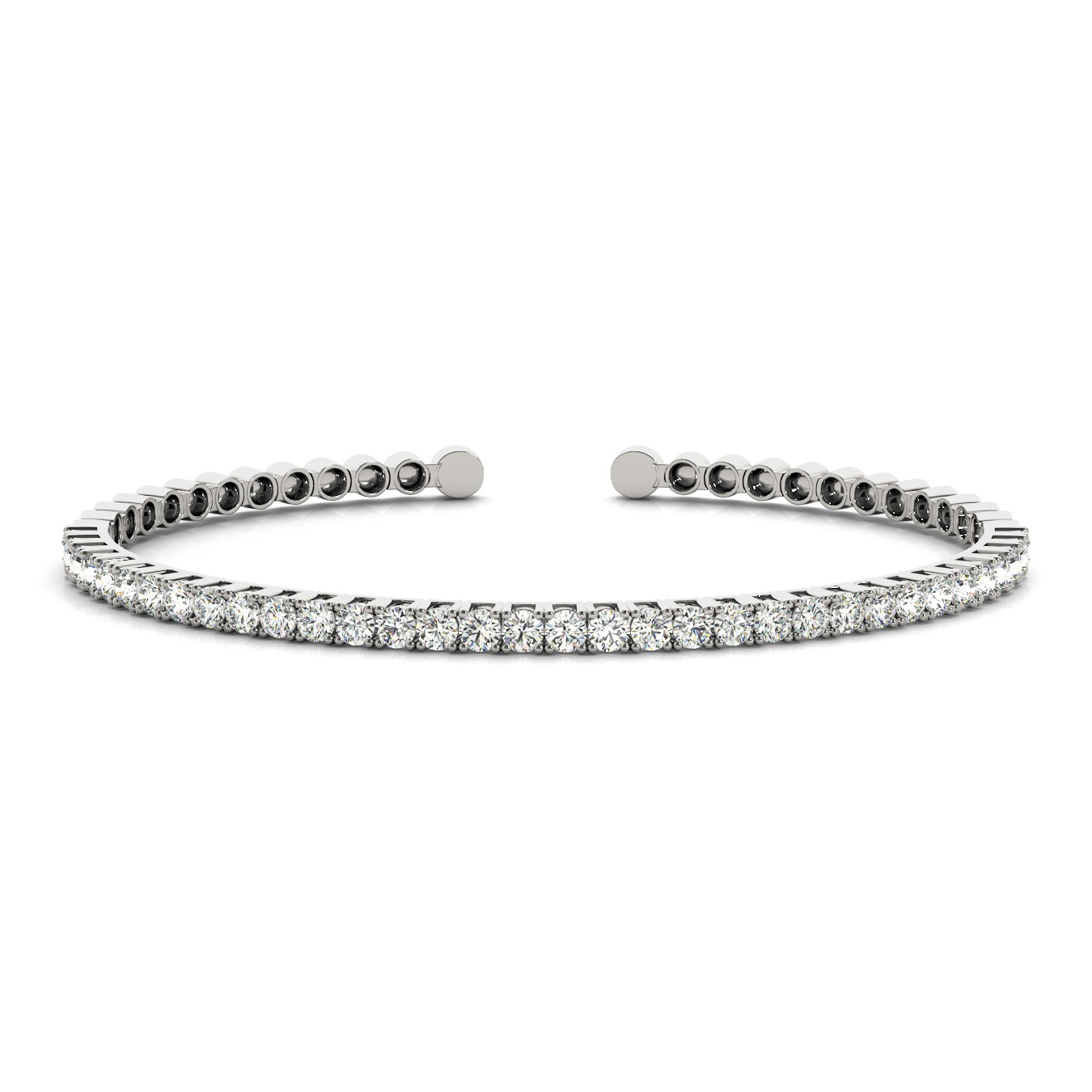 Semi-Flexible Round Diamond Tennis Cuff Bracelet 1.00 Carat 14K White Gold