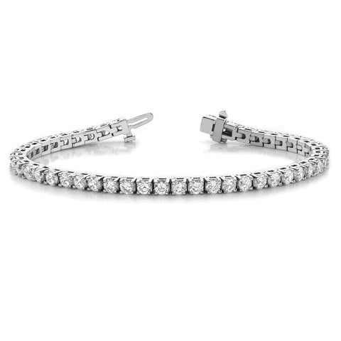 Single Row Four Prong Set Round Diamond Tennis Bracelet 2.20 Carat 18K White Gold