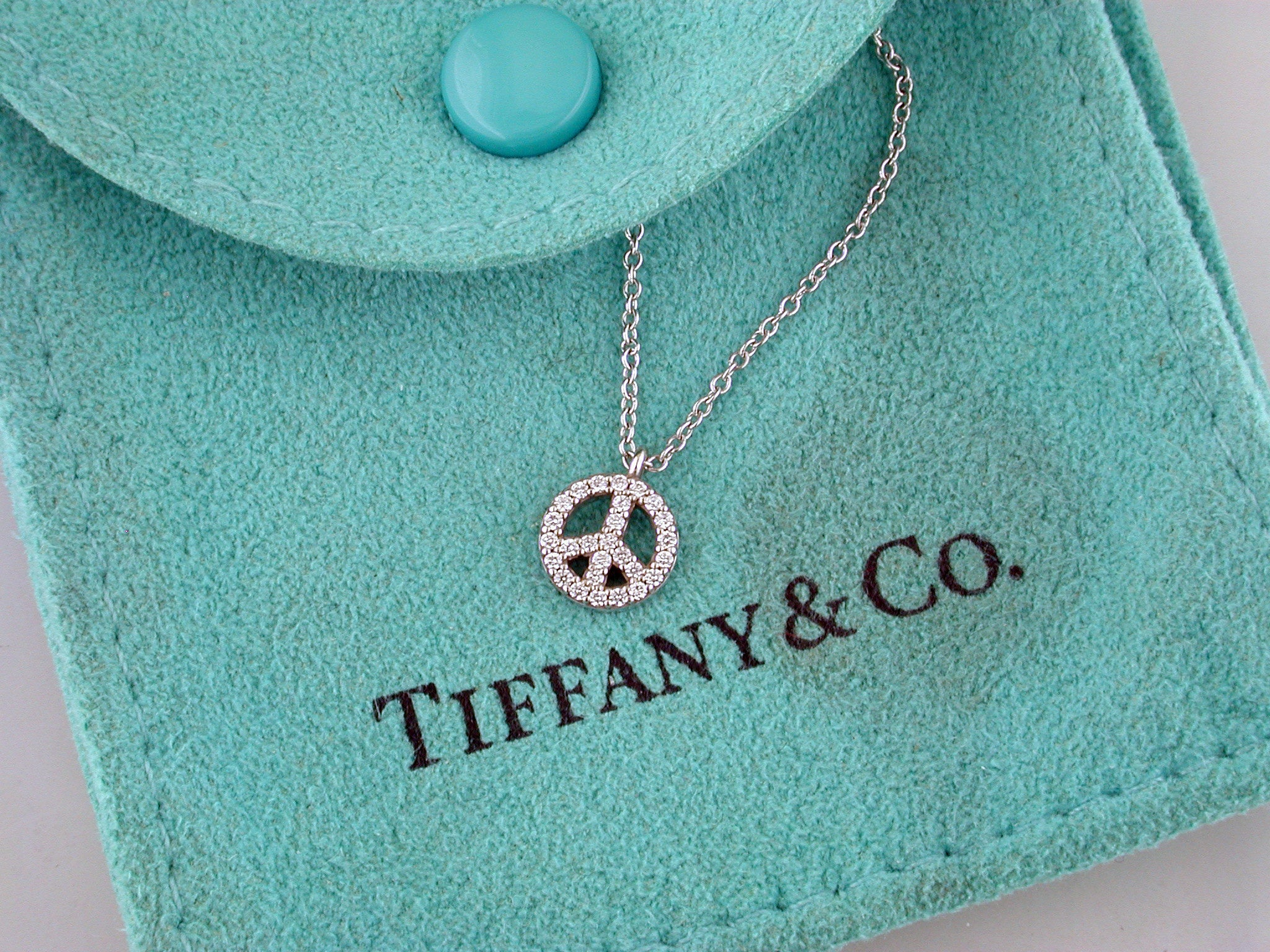 Estate Tiffany & Co. Metro Small Diamond Peace Sign Necklace Pendant 18K White Gold
