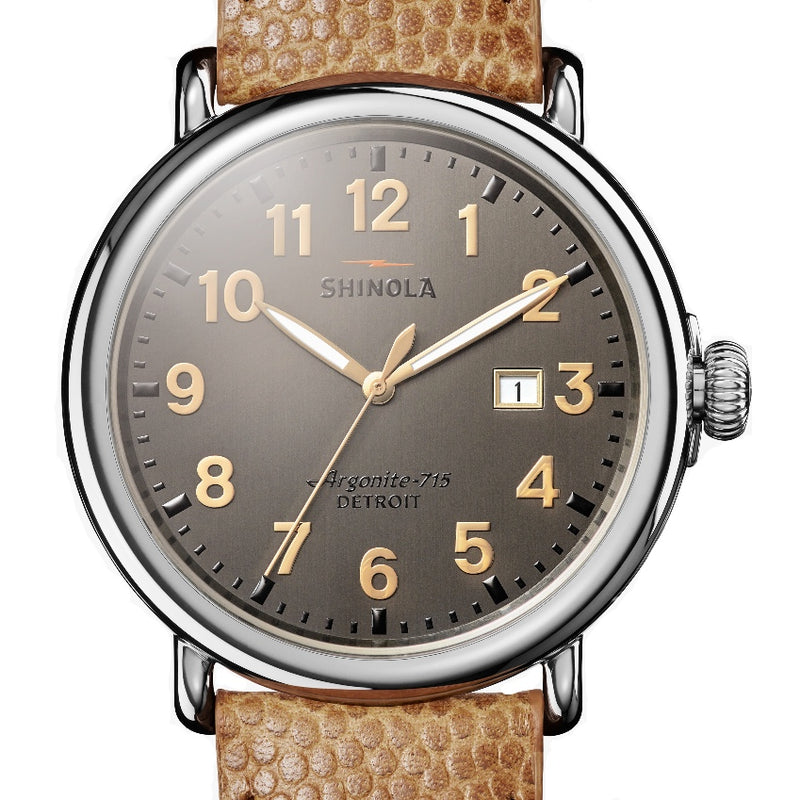 Shinola 47MM Runwell Brushed Grey Tan Leather Watch 120044137