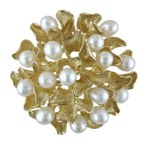 Vintage Estate Leaf Brooch Pendant Freshwater Pearls 14K Yellow Gold Florentine