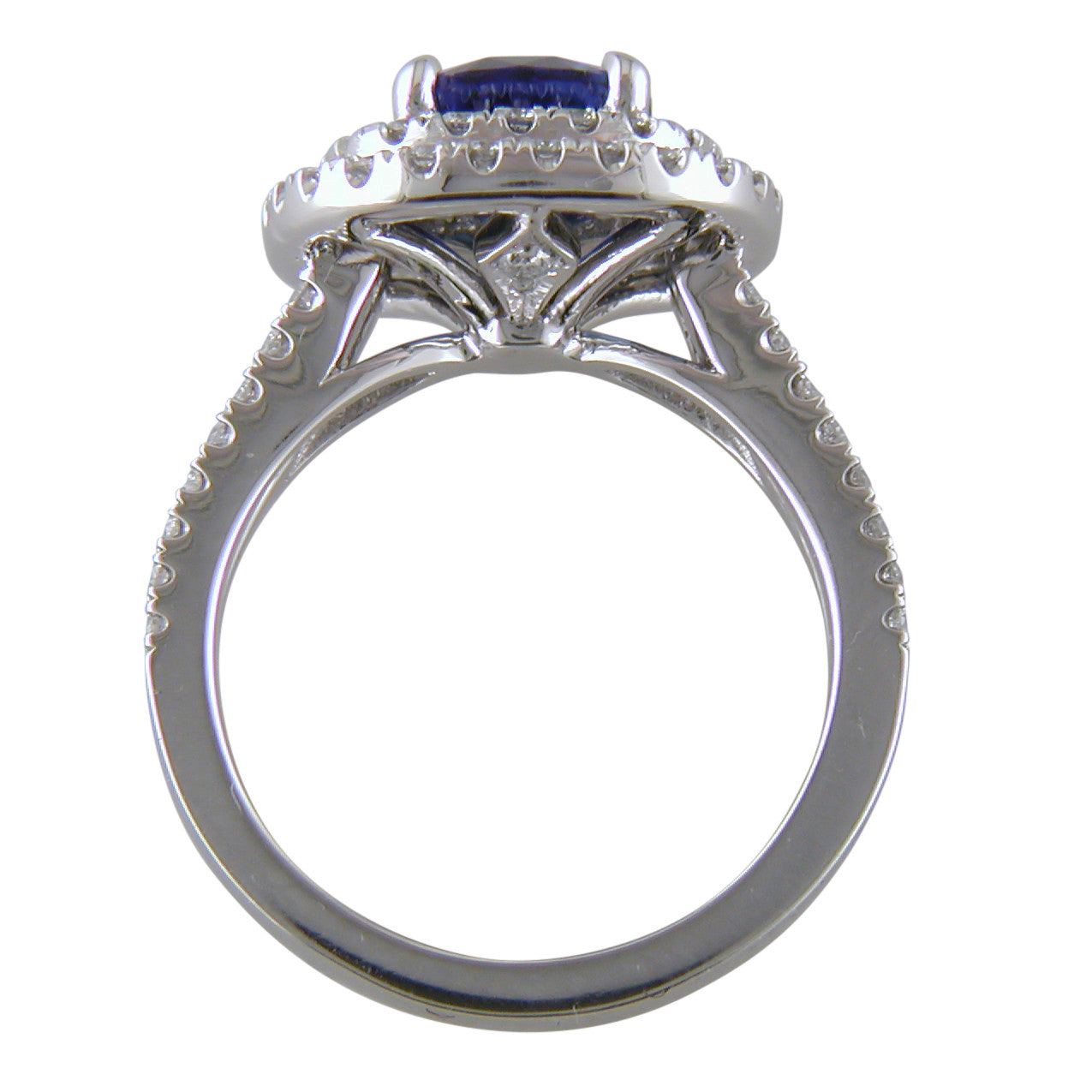 Cushion Shaped Blue Sapphire & Diamond Double Halo Platinum Engagement or Cocktail Ring
