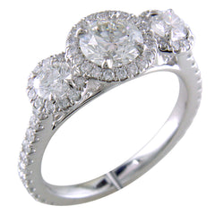 Point of Love Round Diamond Three Stone White Gold Halo Engagement Ring 2.25 Carats