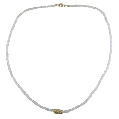 Dana Kellin Fine White Zircon Bead Necklace with Diamond Section, 14K Yellow Gold 16""