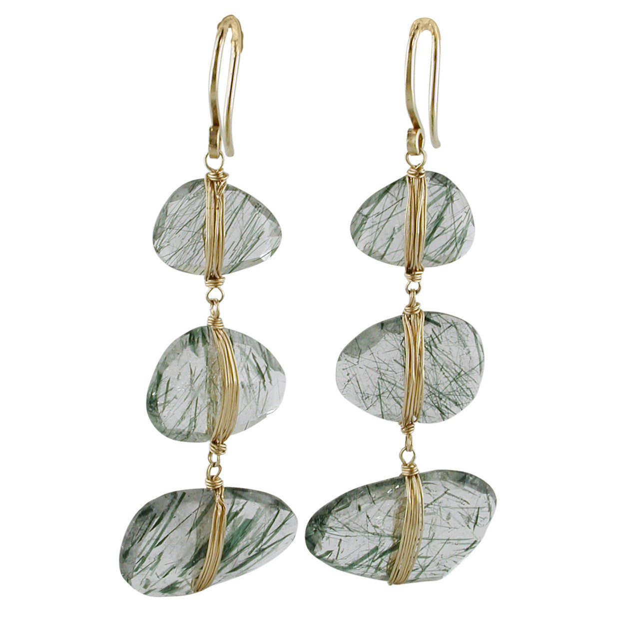 Dana Kellin Green Rutilated Quartz Triple Drop Yellow Gold Spun Wire Dangle Earrings