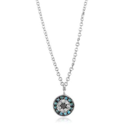 Meira T Rounded Evil Eye Necklace Diamonds Sapphires White Gold 1N5760/WS
