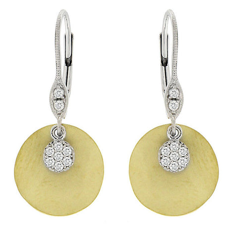 Meira T White and Yellow Gold Earrings with Pave Charms 1E5291