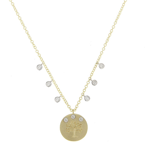 Meira T White Yellow Gold Golden Tree of Life Necklace with Diamonds 1N6125/YG