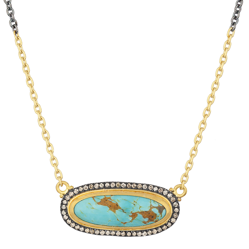 "Lika Behar ""My World"" Necklace with Oval Kingman Turquoise & Cognac Diamonds Silver 24K Gold 16-18"" MY-N-120-GXCDTQ"