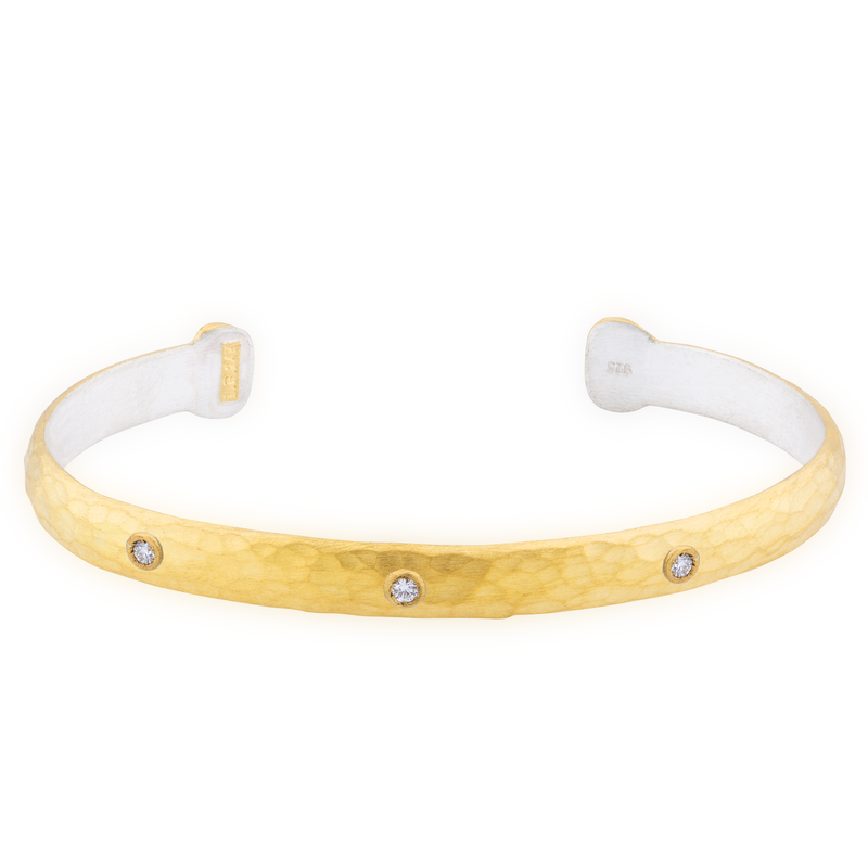 "Lika Behar ""Stockholm"" Open Cuff Bracelet Silver & 24K Gold Fusion with Diamonds ST-B-106-GSILD-3"