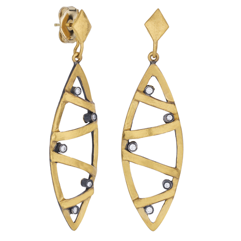 "Lika Behar ""Caged"" Marquise Dangle Earrings Sterling & 24K Fusion Gold with Diamonds CG-E-101-GOXD-4"