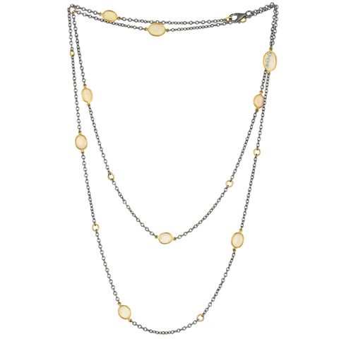 "Lika Behar ""Katya"" Opal Necklace in Sterling Silver & 24K Gold 38"" Adjustable KAT-N-105-GXOP-43"