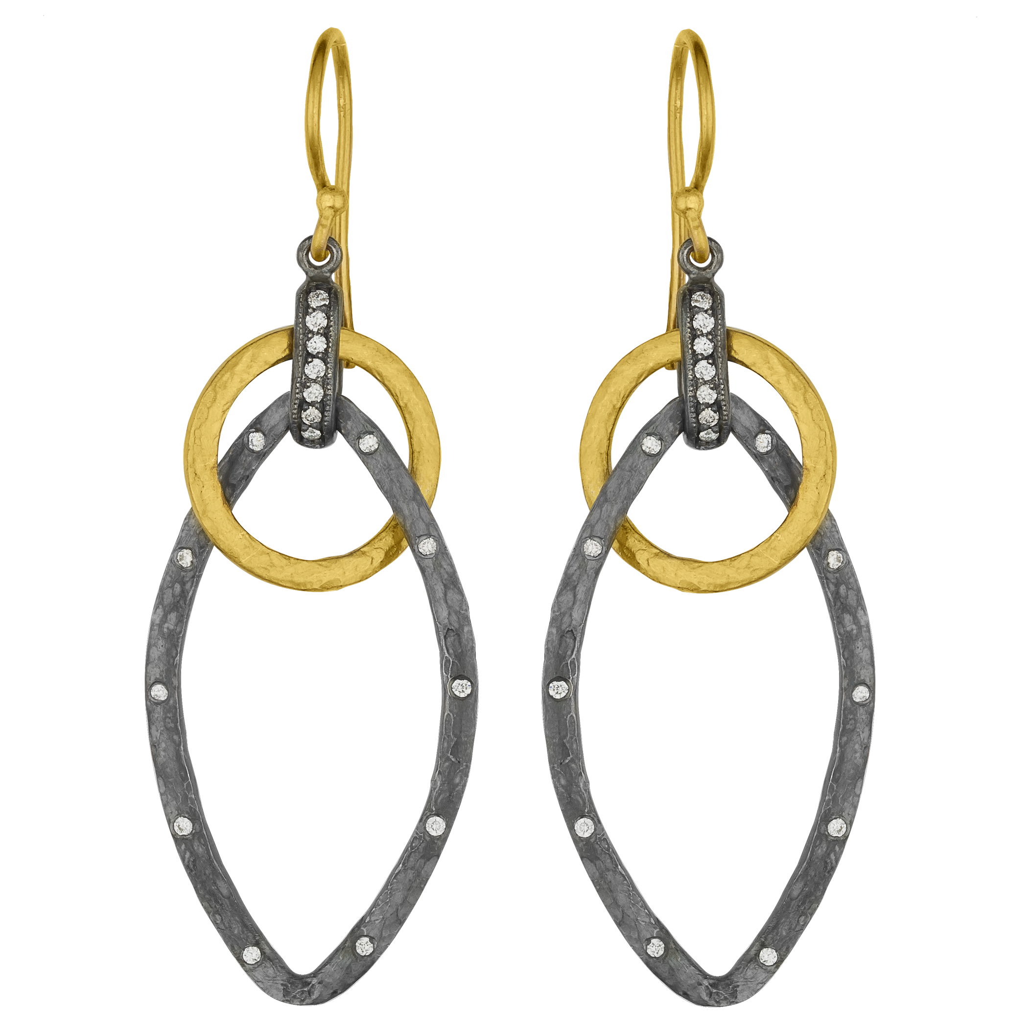 "Lika Behar ""Kelly"" Marquise Dangle Earrings Sterling & 24K Solid Gold with Diamonds KEL-E-340-GOXD-7"