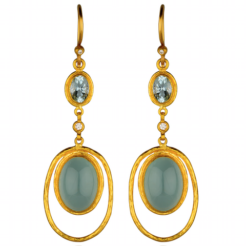 "Lika Behar ""Florence"" Dangle Earrings Milky Aquamarine Sterling & 24K Solid Gold with Diamonds FLRN-0E-601-GDMAQ"