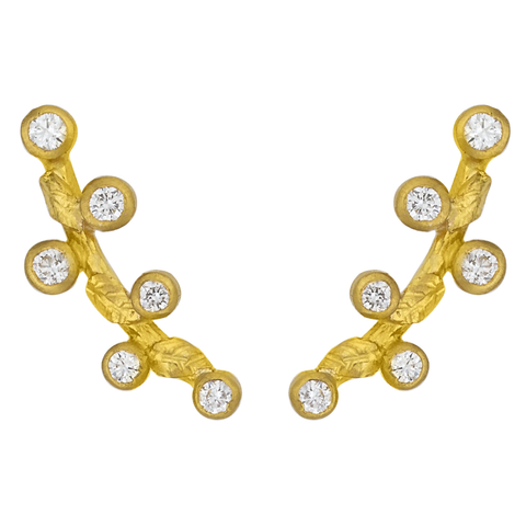 "Lika Behar Small ""Laurier"" Ear Cuffs Earrings 24K Solid Gold with Diamonds LAU-E-306-GD"