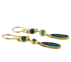 "Lika Behar ""Ocean"" Opal & Emerald Triple Drop Earrings 24K Gold OC-E-400-GOPEM-3"