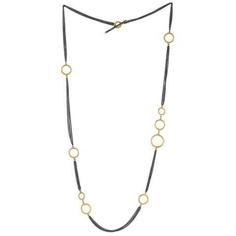 "Lika Behar ""Bubbles"" Multichain Necklace in Sterling Silver & 24K Gold 36"" BUB-N-111-GOX-104"