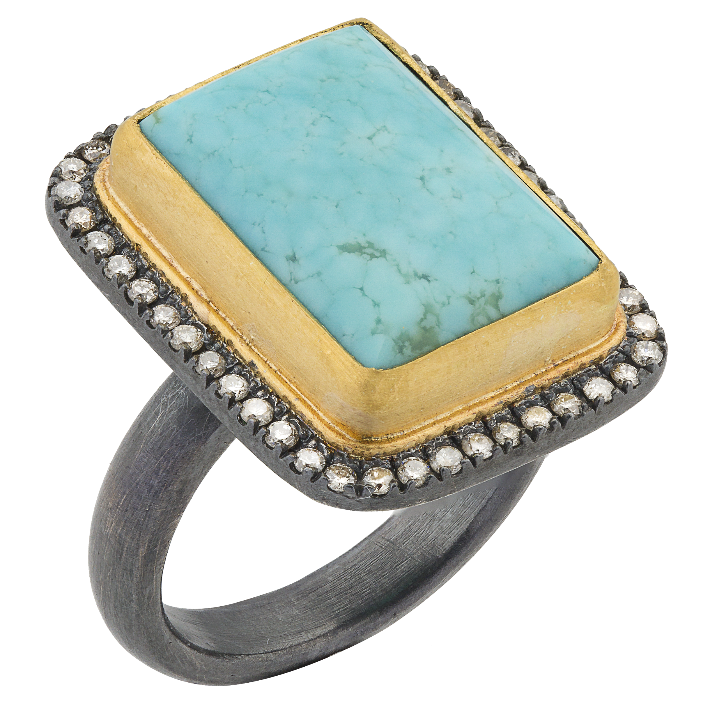 "Lika Behar ""My World"" Ring in 24K Gold & Oxidized Silver with Rectangle Kingman Turquoise & Champagne Diamonds"