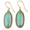 "Lika Behar ""My World"" Earrings with Oval Kingman Turquoise & Cognac Diamonds Silver 24K Gold MY-E-100-GXCDTQ-26"