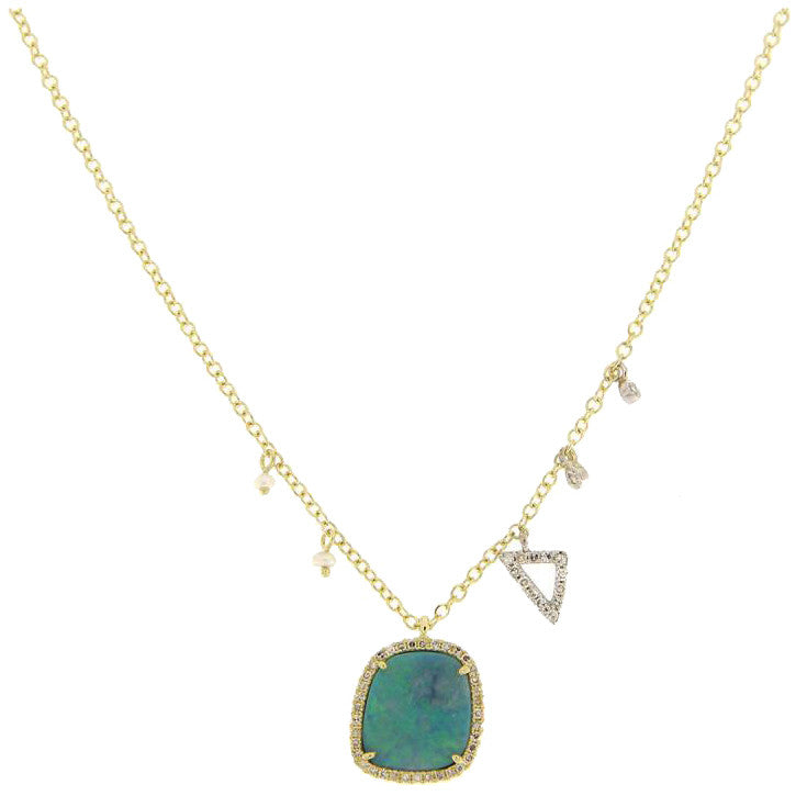 Meira T Freeform Opal Pendant Necklacewith Pearls & Diamonds, Scalene Triangle 1N8739/YO