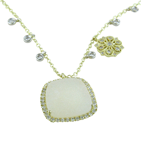 Meira T White and Yellow Gold Freeform Druzi Necklace with Diamonds 1N8971/DR