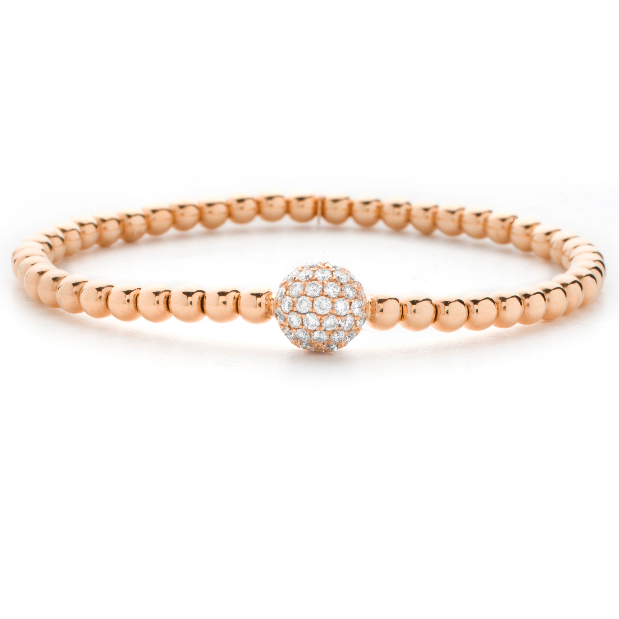 Hulchi Belluni 18K Rose Gold Stretch Stackable Bracelet with Large Pave Diamond Ball Station