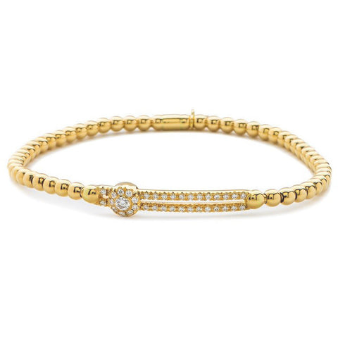 Hulchi Belluni Fidget Bracelet with Single Pave Diamond Moveable Station Yellow Gold Stretch Stackable