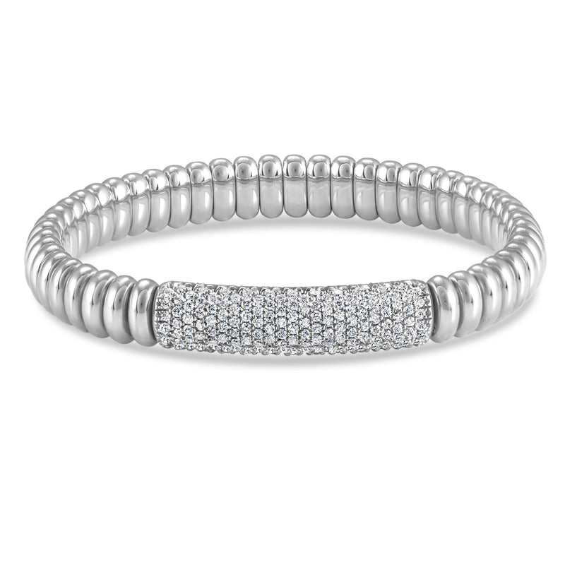 Hulchi Belluni Bracelet with Pave Diamond ID Bar White Gold Stretch Stackable 22344-WW
