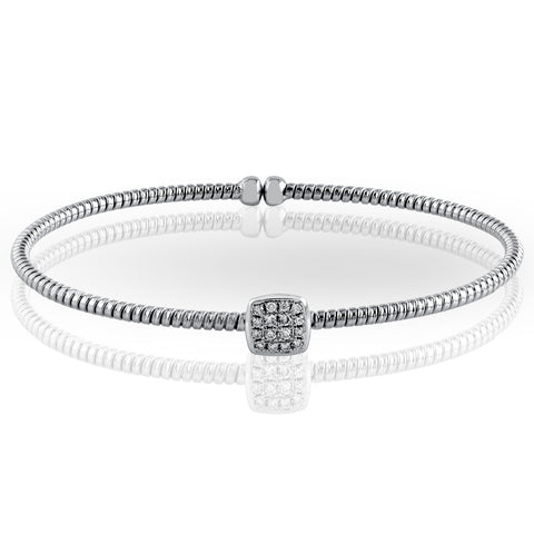 Pre-owned Simon G. Round Diamond Cushion Enchantment Bangle Bracelet 18K White Gold NB130