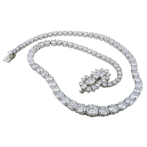 Estate Vintage Single Row Round & Pear Shape Diamond Tennis Necklace 25 Carats Platinum