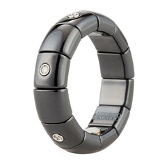 Roberto Demeglio Pura Black Ceramic Alternating Diamond Elastic Ring Band High Polish